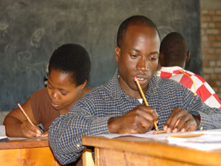 Students writing tests